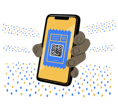 Illustration of a phone with a ticket on it