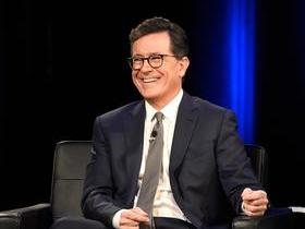 Stephen Colbert with Samantha Bee