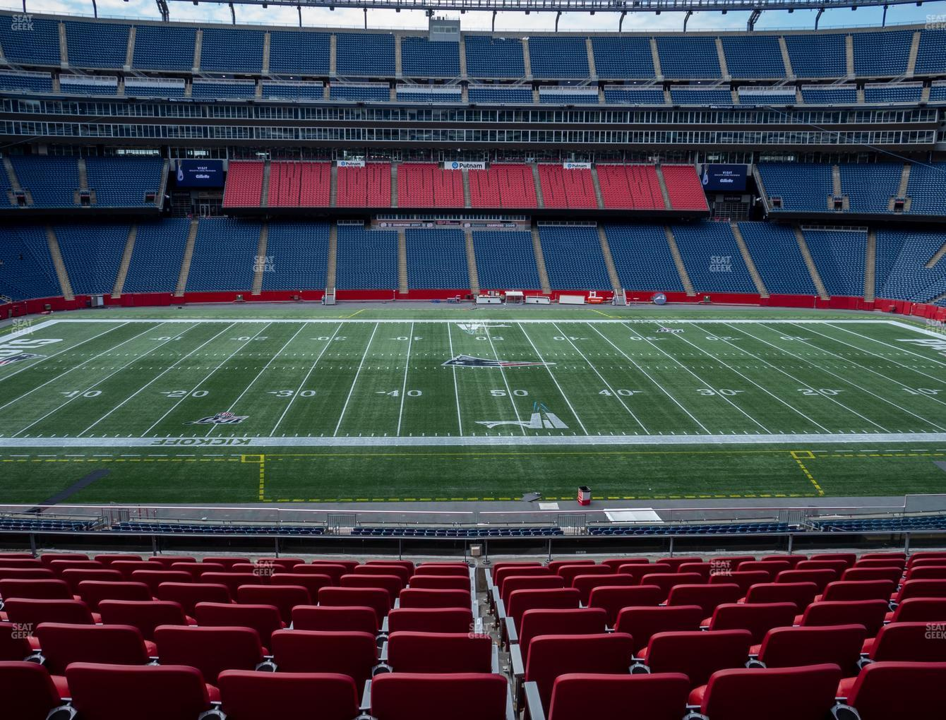 New England Patriots at Gillette Stadium Section Club 10 View