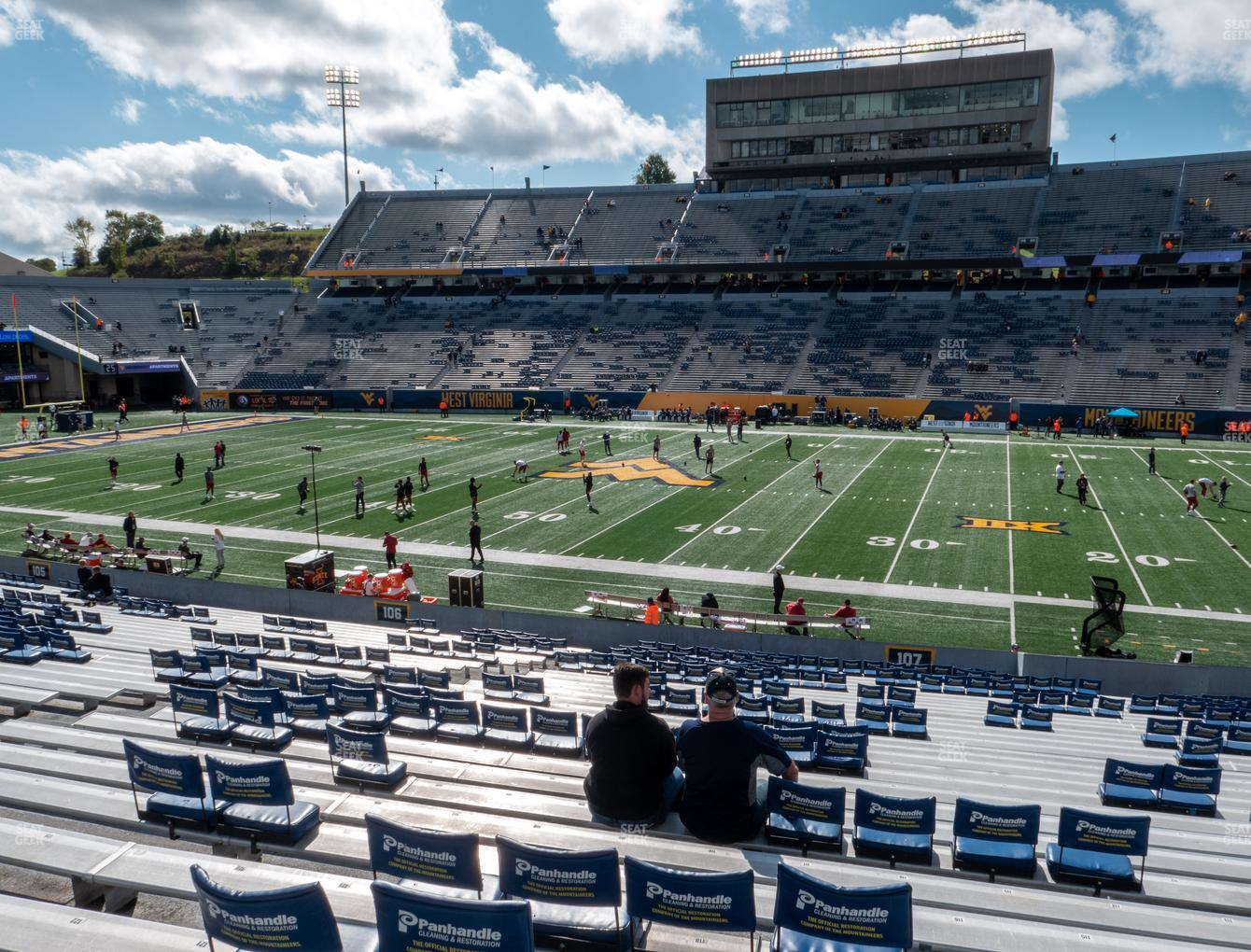 West Virginia Mountaineers Football at Mountaineer Field at Milan Puskar Stadium Section 107 View