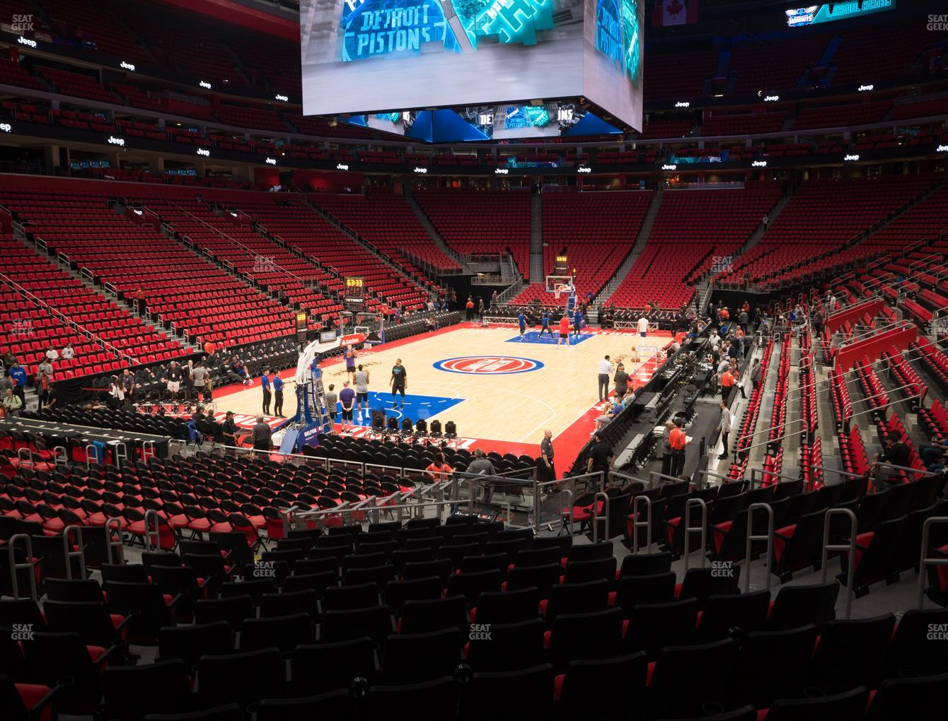Detroit Pistons at Little Caesars Arena Section 101 View
