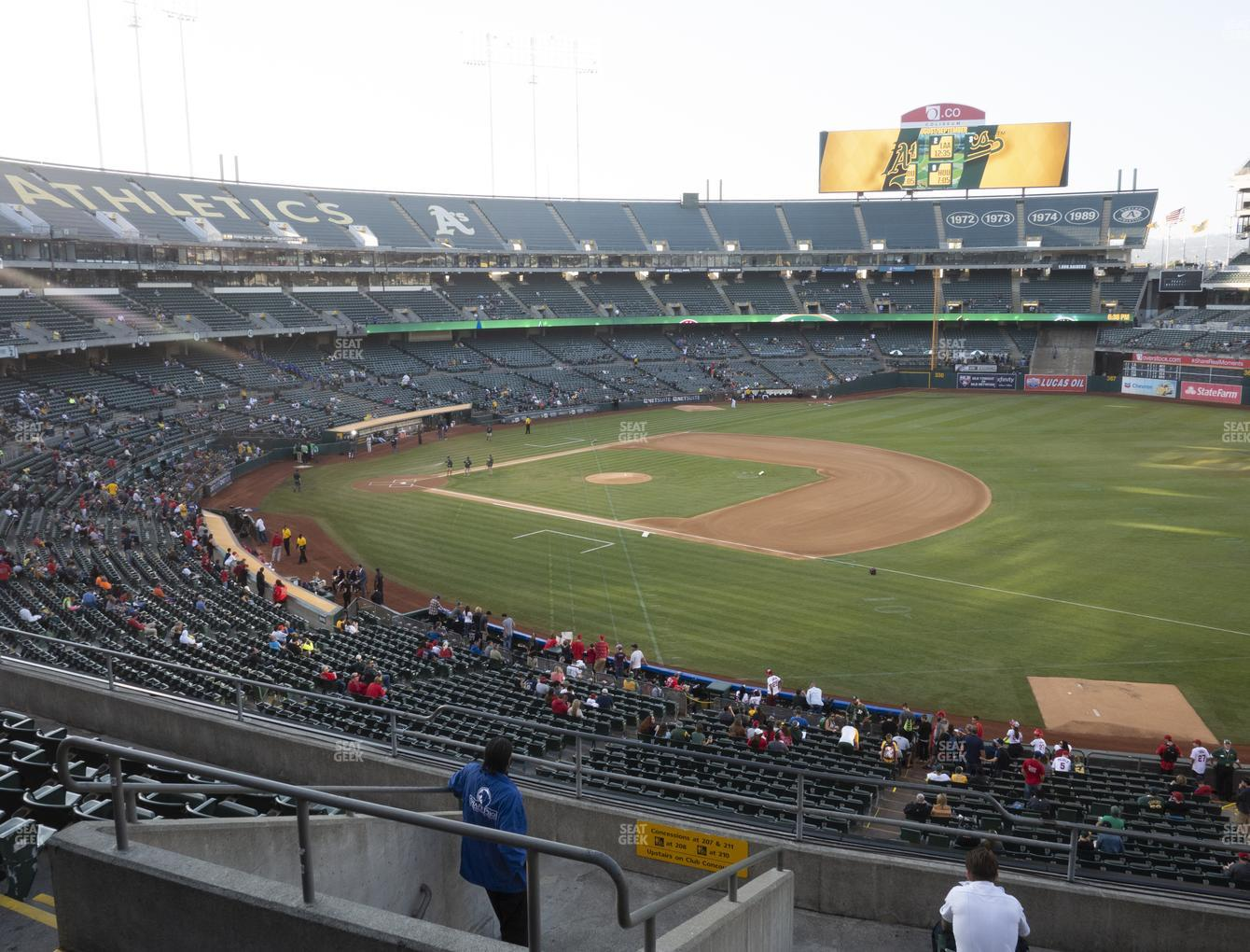 Oakland Athletics at Oakland-Alameda County Coliseum Section 208 View