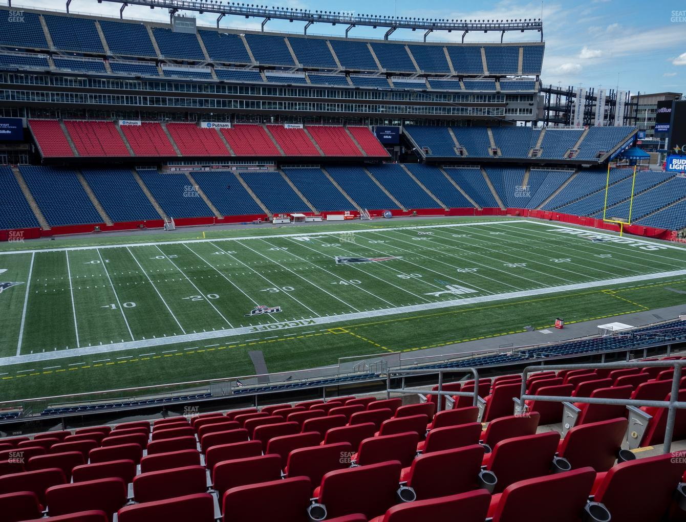 New England Patriots at Gillette Stadium Section Club 13 View