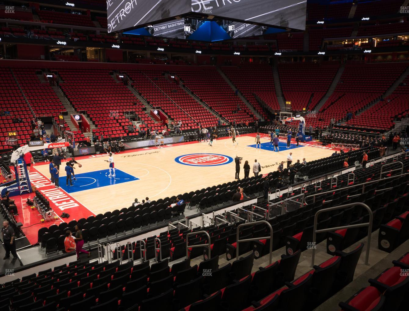 Detroit Pistons at Little Caesars Arena Section 112 View