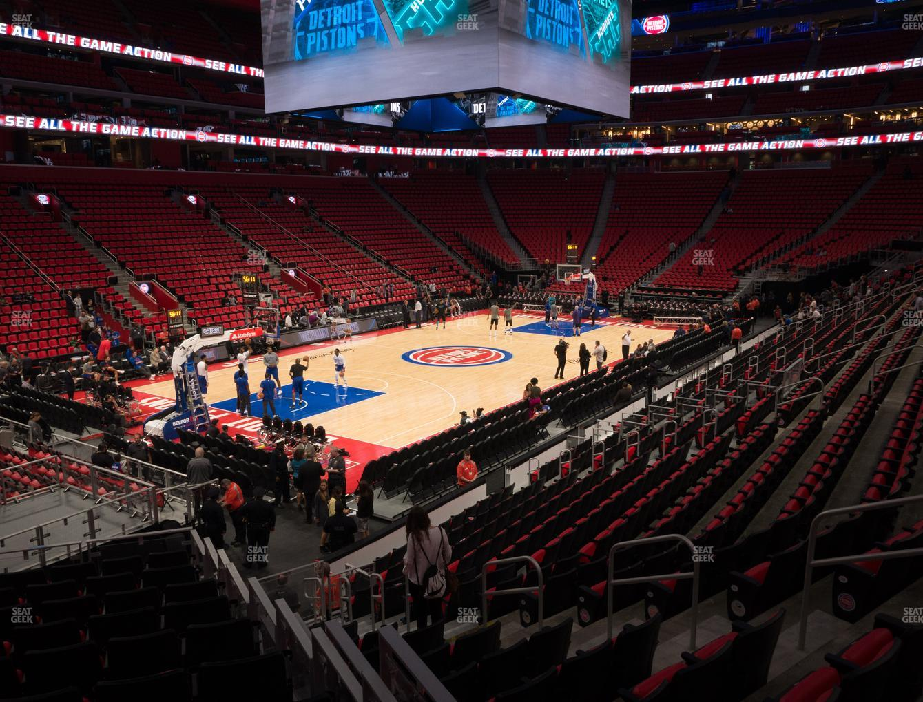 Detroit Pistons at Little Caesars Arena Section 113 View