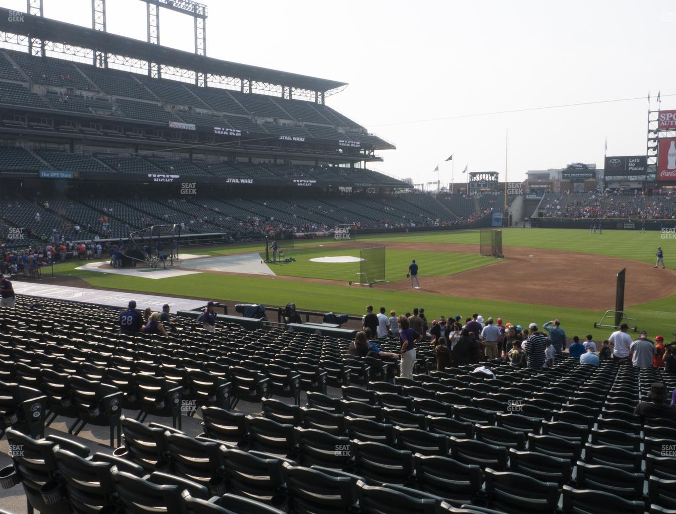 Colorado Rockies at Coors Field Section 120 View
