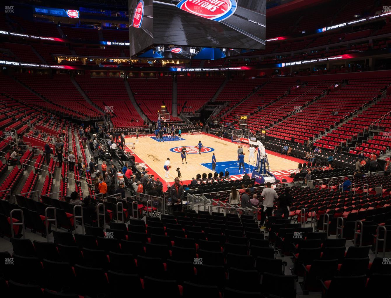 Detroit Pistons at Little Caesars Arena Section 117 View