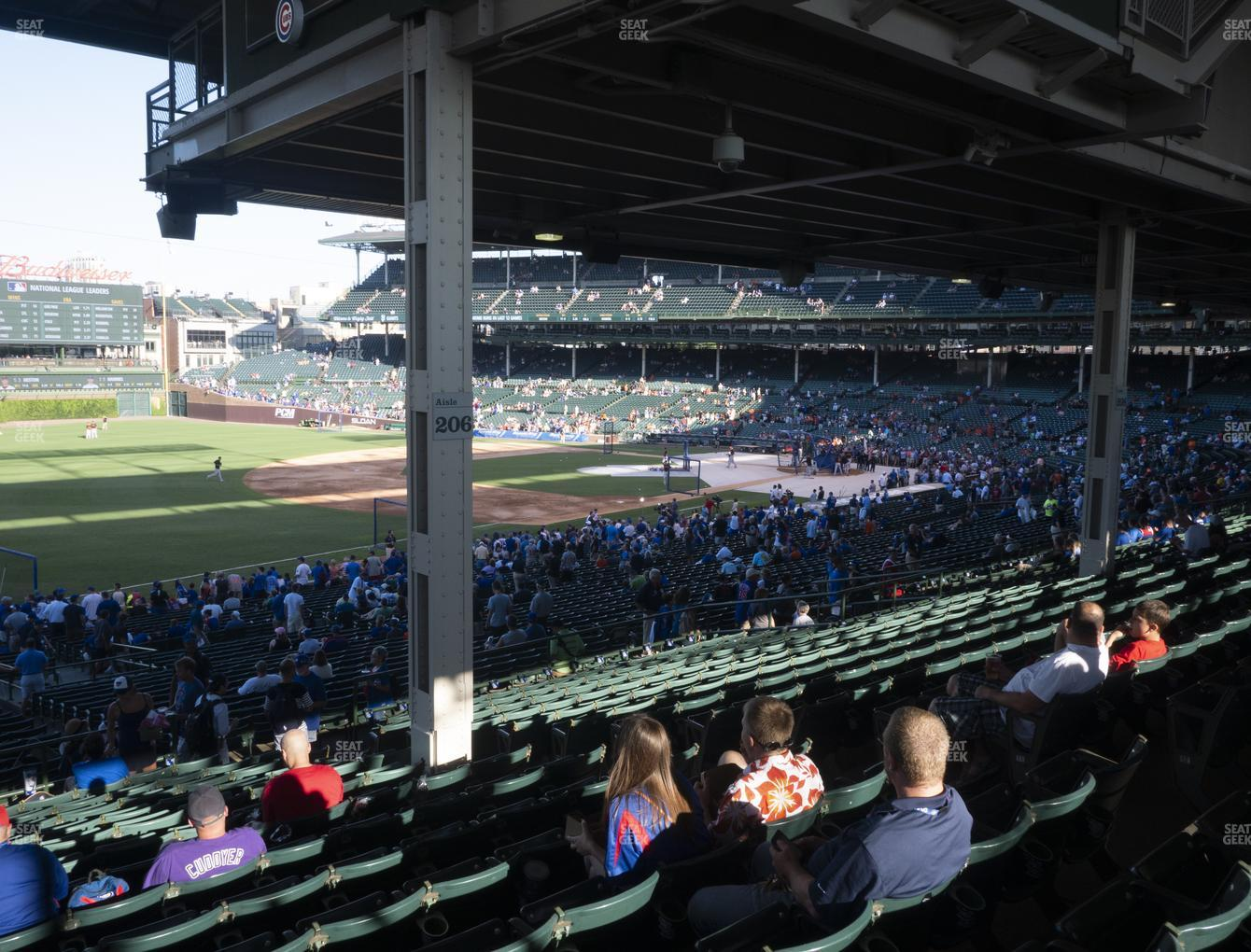 Chicago Cubs at Wrigley Field Section 206 View