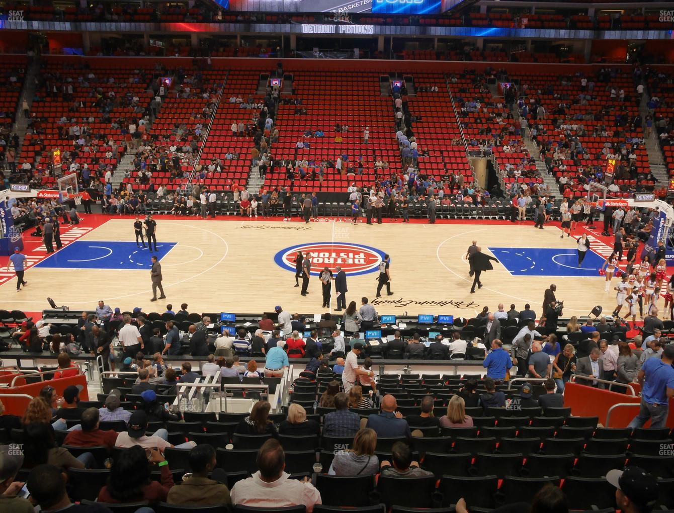Detroit Pistons at Little Caesars Arena Section 122 View