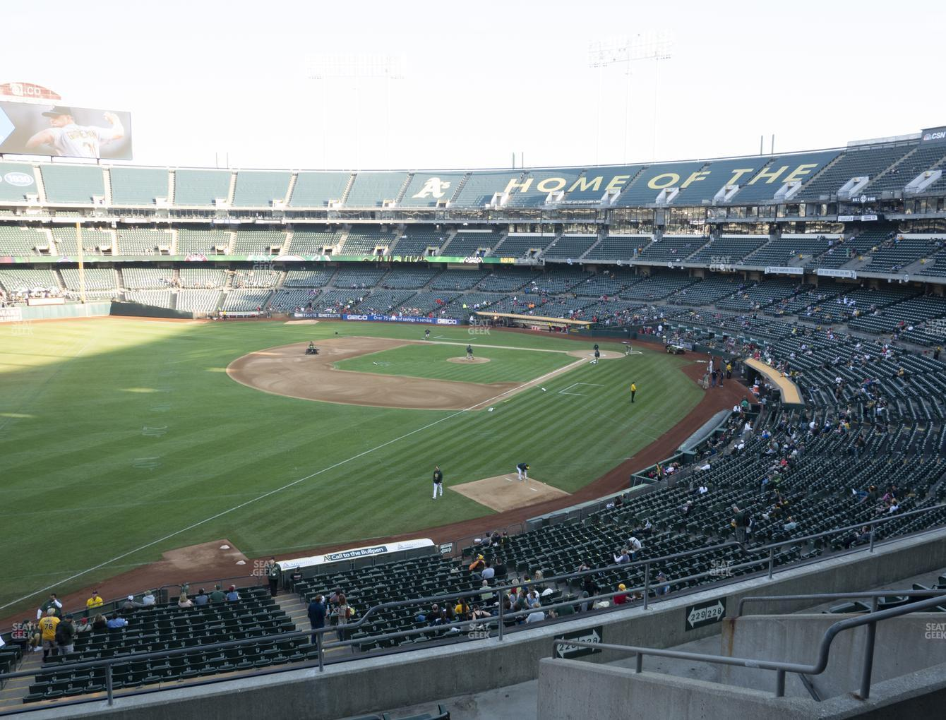 Oakland Athletics at Oakland-Alameda County Coliseum Section 229 View