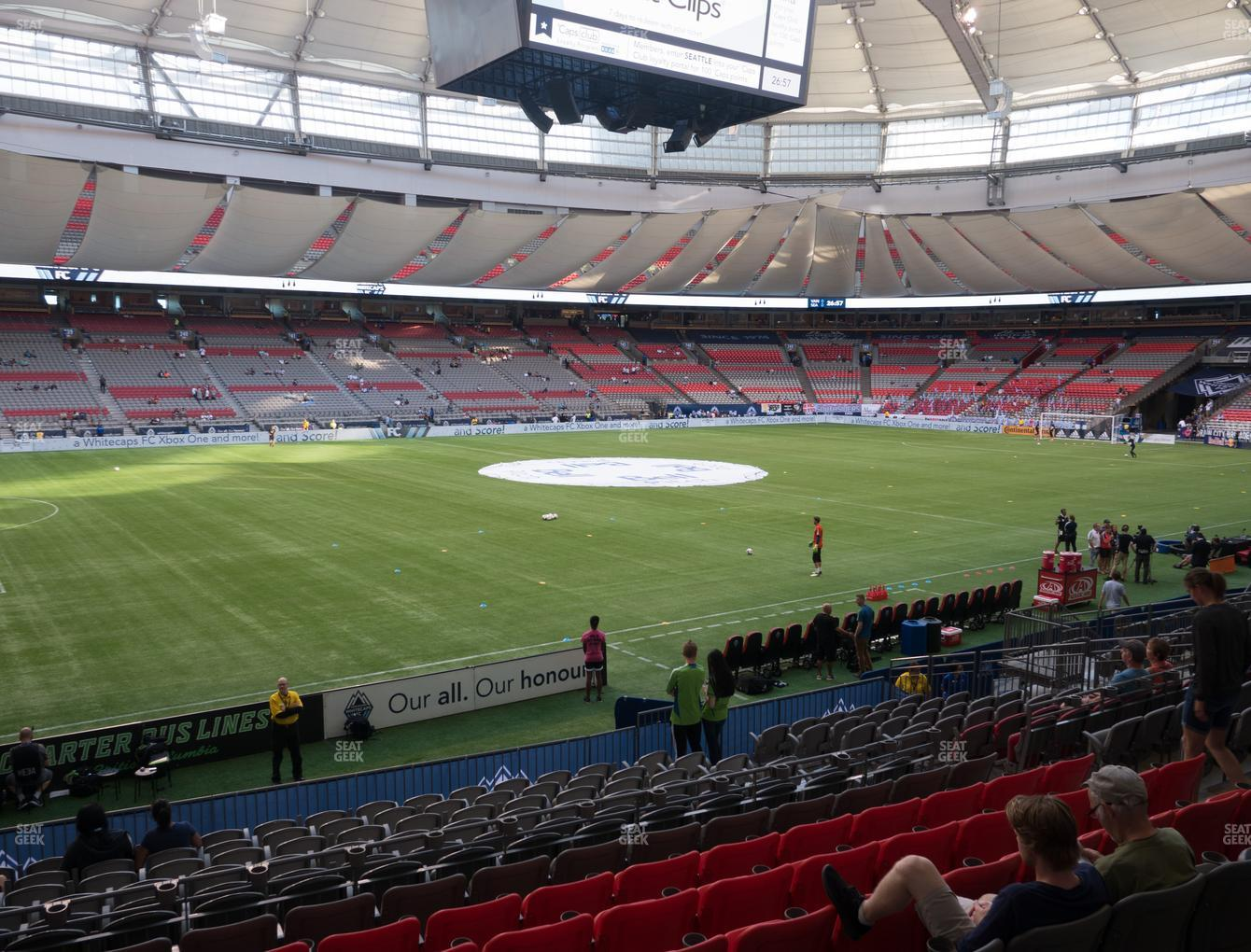 Vancouver Whitecaps FC at BC Place Stadium Section 218 View