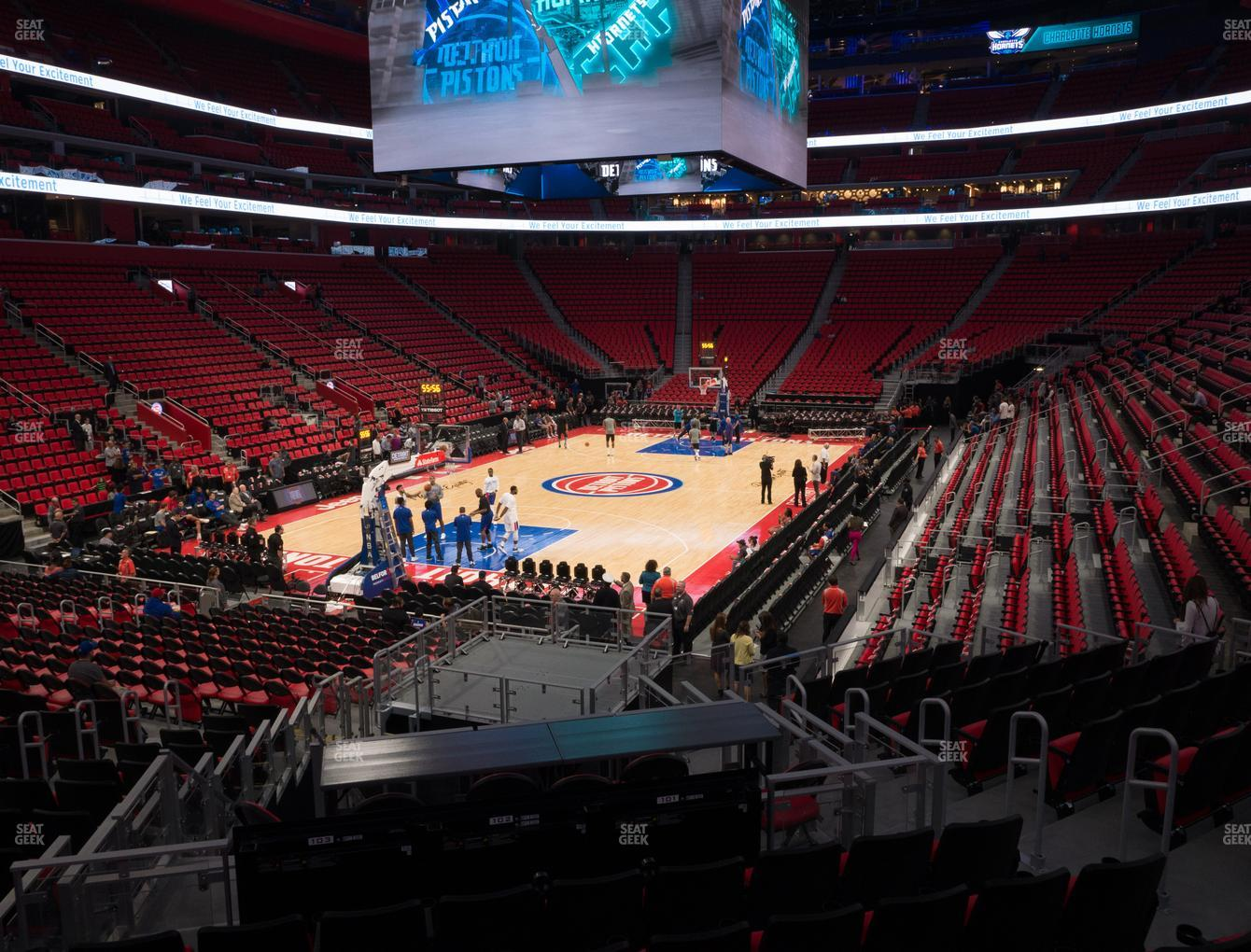 Detroit Pistons at Little Caesars Arena Section 114 View