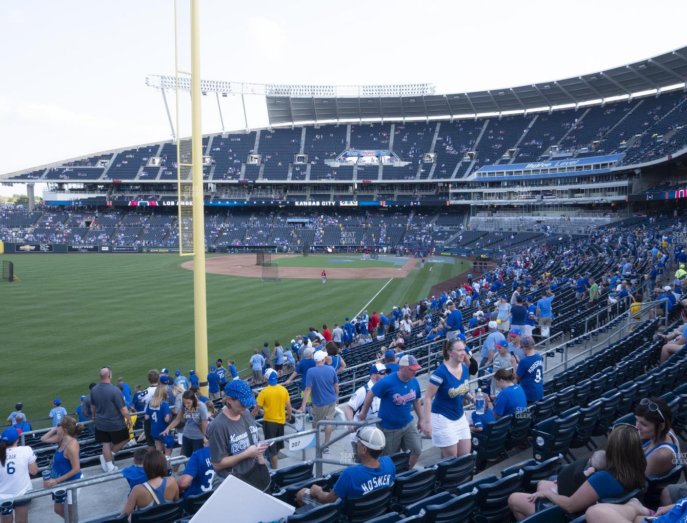 Kansas City Royals at Kauffman Stadium Section 207 View
