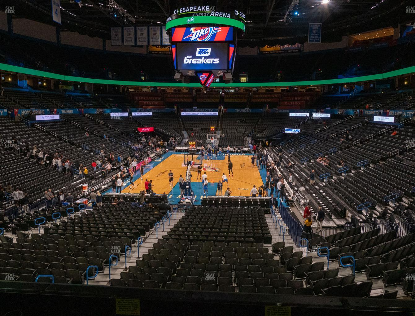 Oklahoma City Thunder at Chesapeake Energy Arena Lower Terrace 215 View