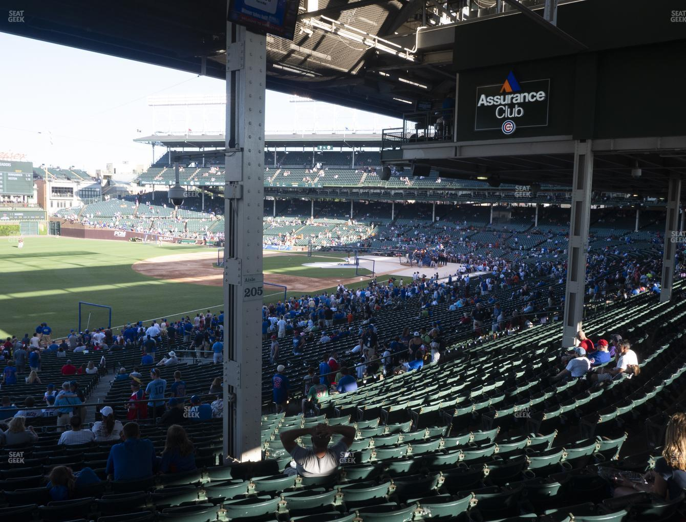 Chicago Cubs at Wrigley Field Section 205 View