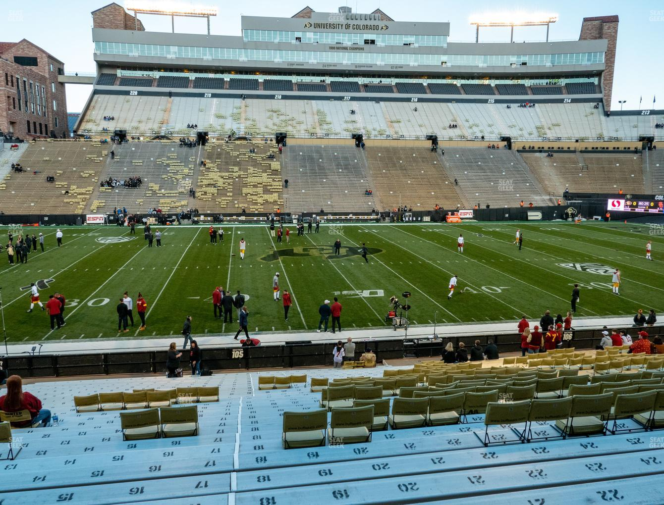 Colorado Buffaloes Football at Folsom Field Section 105 View