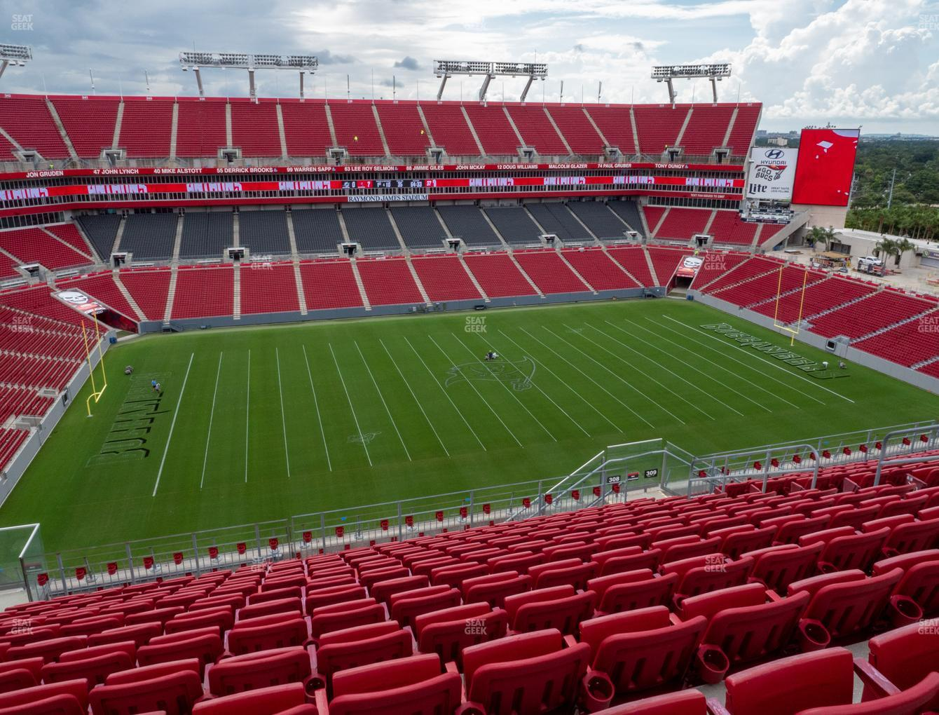 Tampa Bay Buccaneers at Raymond James Stadium Section 308 View