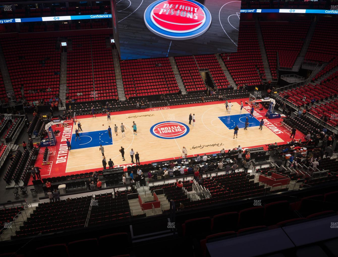 Detroit Pistons at Little Caesars Arena Drink Rail Mezzanine 29 View