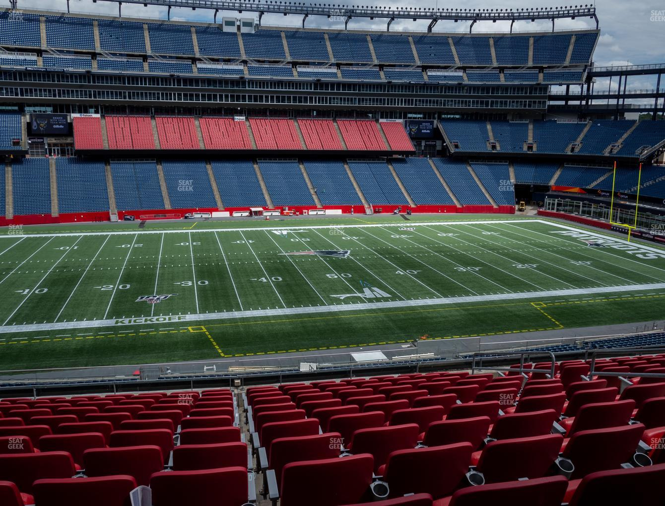 New England Patriots at Gillette Stadium Section Club 33 View