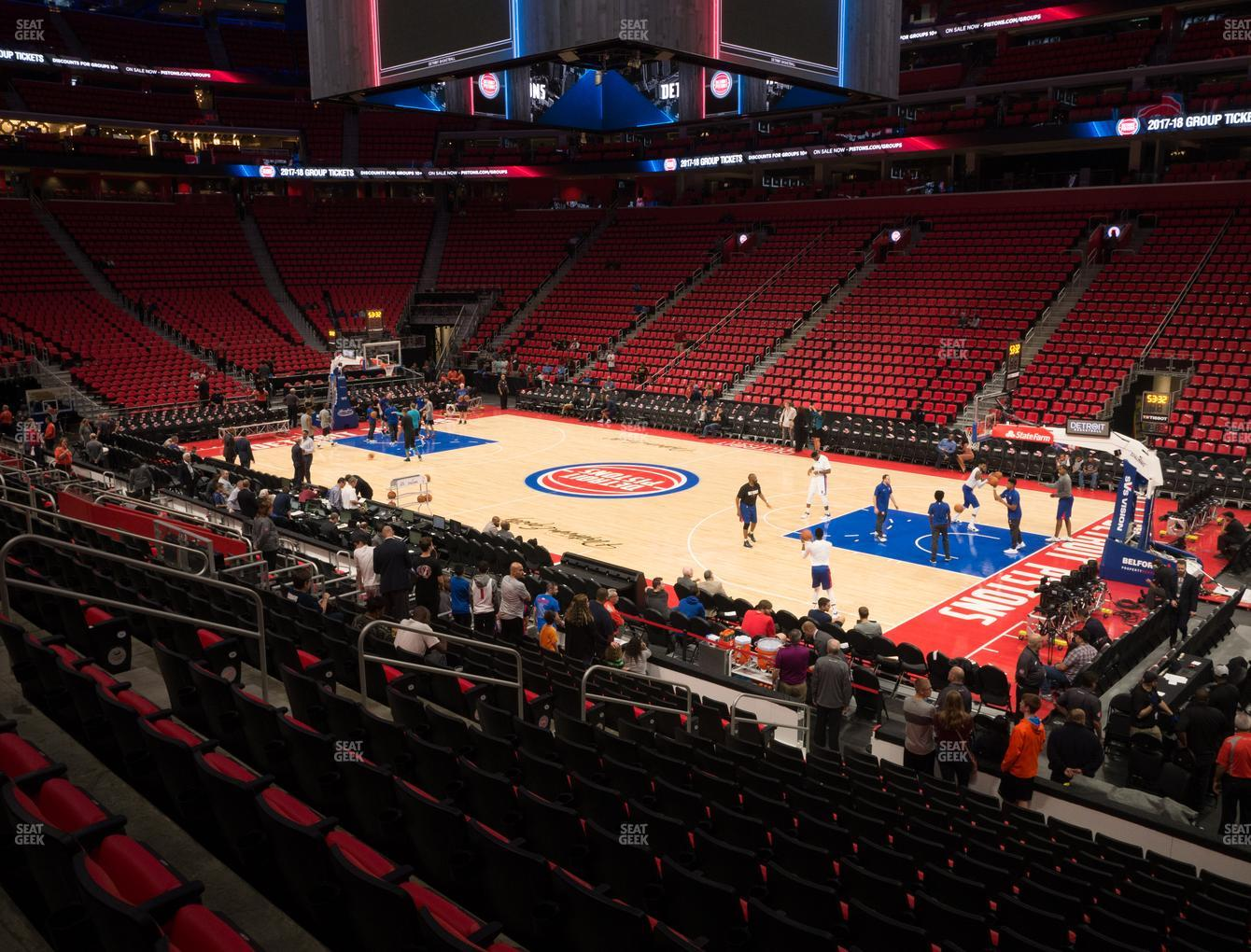 Detroit Pistons at Little Caesars Arena Section 119 View