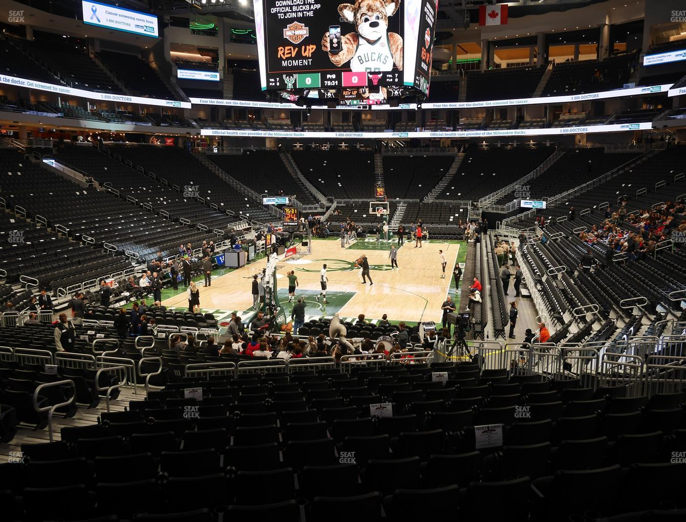 Milwaukee Bucks at Fiserv Forum Section 110 View