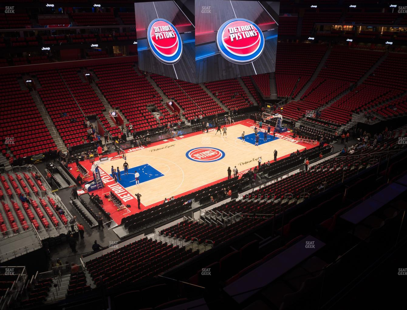 Detroit Pistons at Little Caesars Arena Mezzanine 15 View