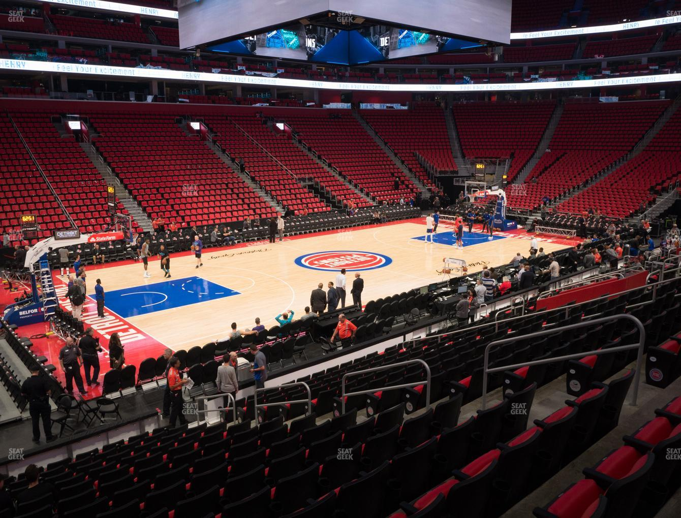 Detroit Pistons at Little Caesars Arena Section 125 H View