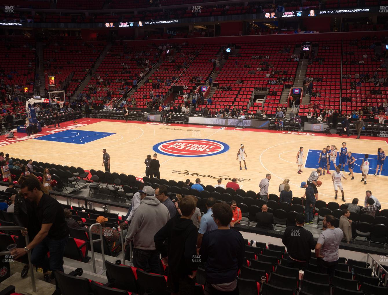 Detroit Pistons at Little Caesars Arena Section 108 View