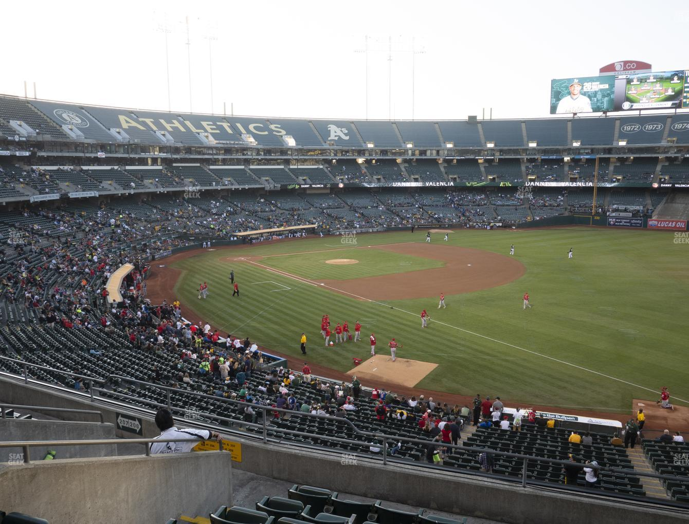 Oakland Athletics at Oakland-Alameda County Coliseum Section 206 View