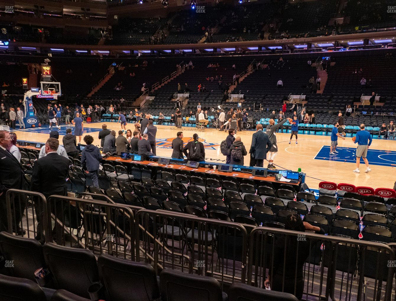 New York Knicks at Madison Square Garden Section 107 D View