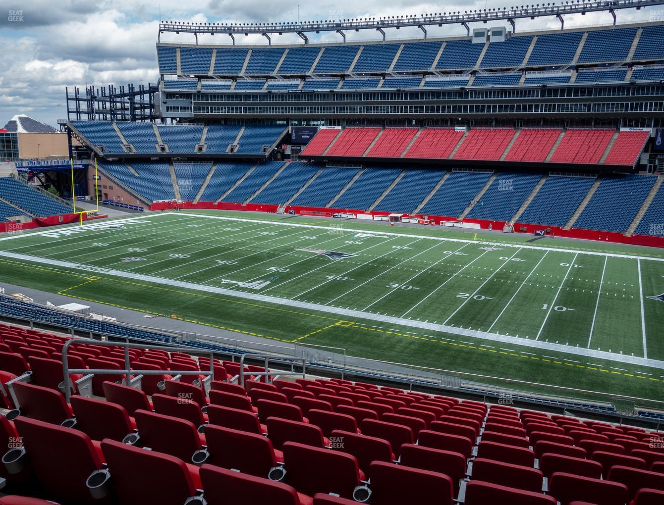 New England Patriots at Gillette Stadium Section Club 28 View