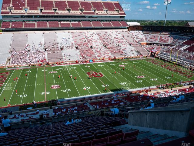 Gaylord Family Oklahoma Memorial Stadium Section 107 view