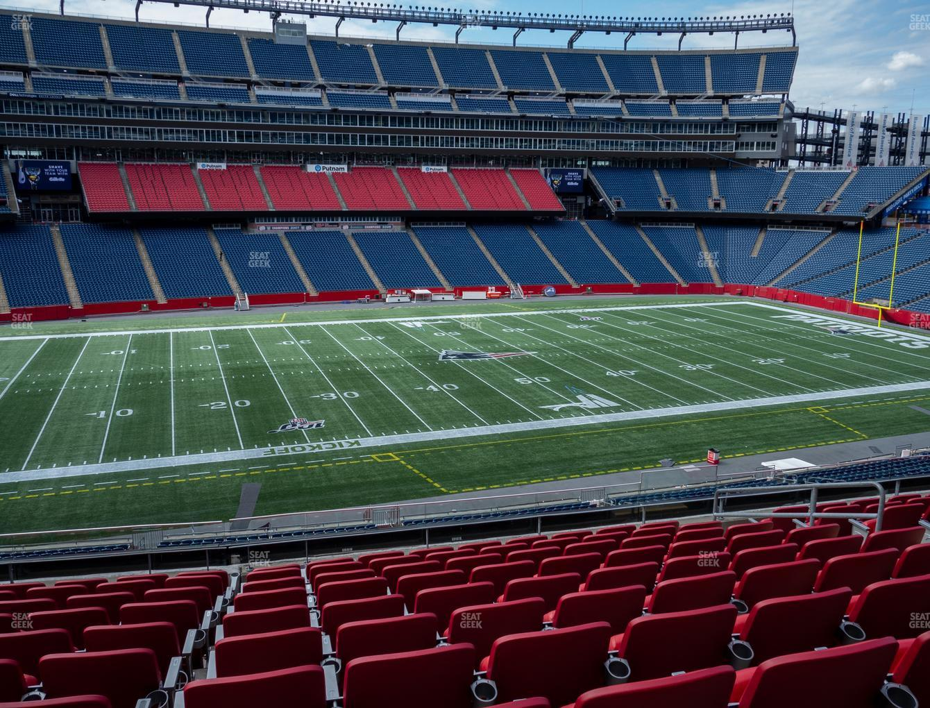 New England Patriots at Gillette Stadium Section Club 12 View
