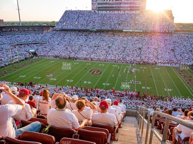 Gaylord Family Oklahoma Memorial Stadium Section 128 view