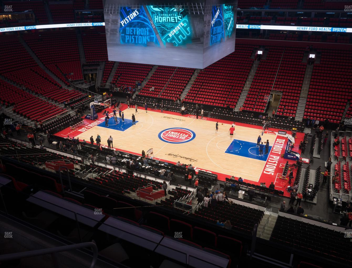 Detroit Pistons at Little Caesars Arena Drink Rail Mezzanine 25 View