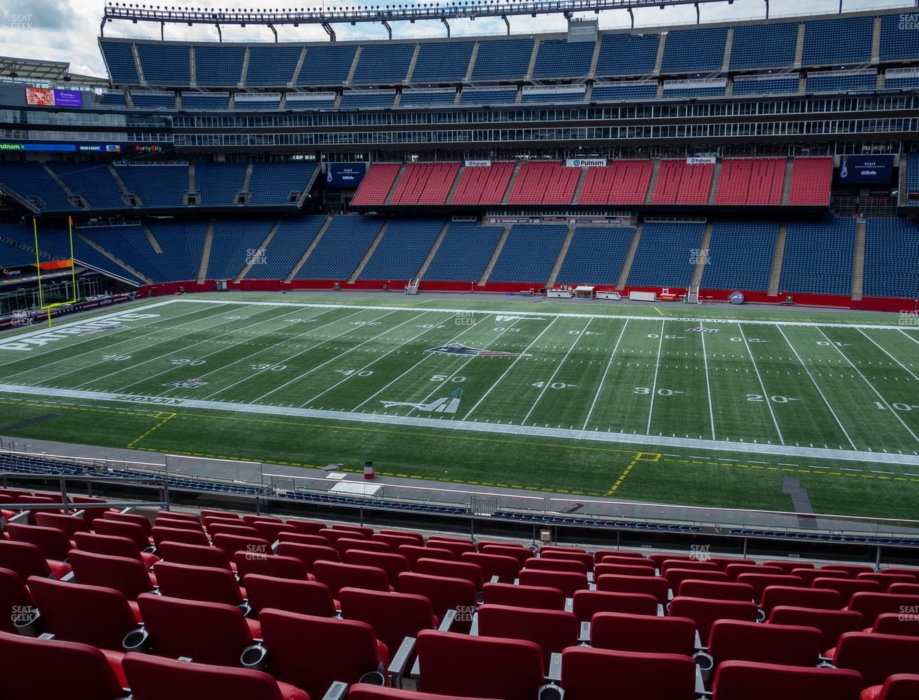New England Patriots at Gillette Stadium Section Club 8 View