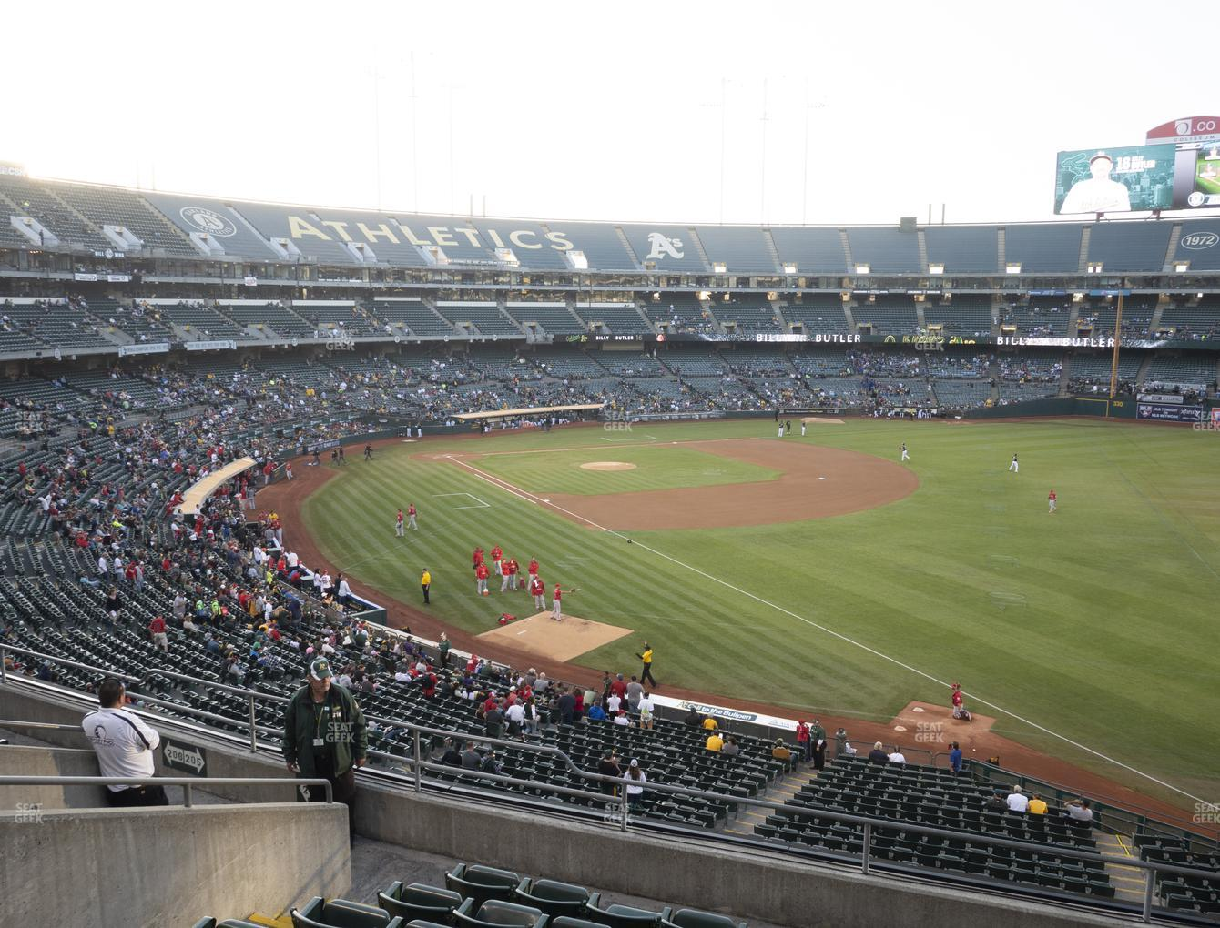 Oakland Athletics at RingCentral Coliseum Section 205 View