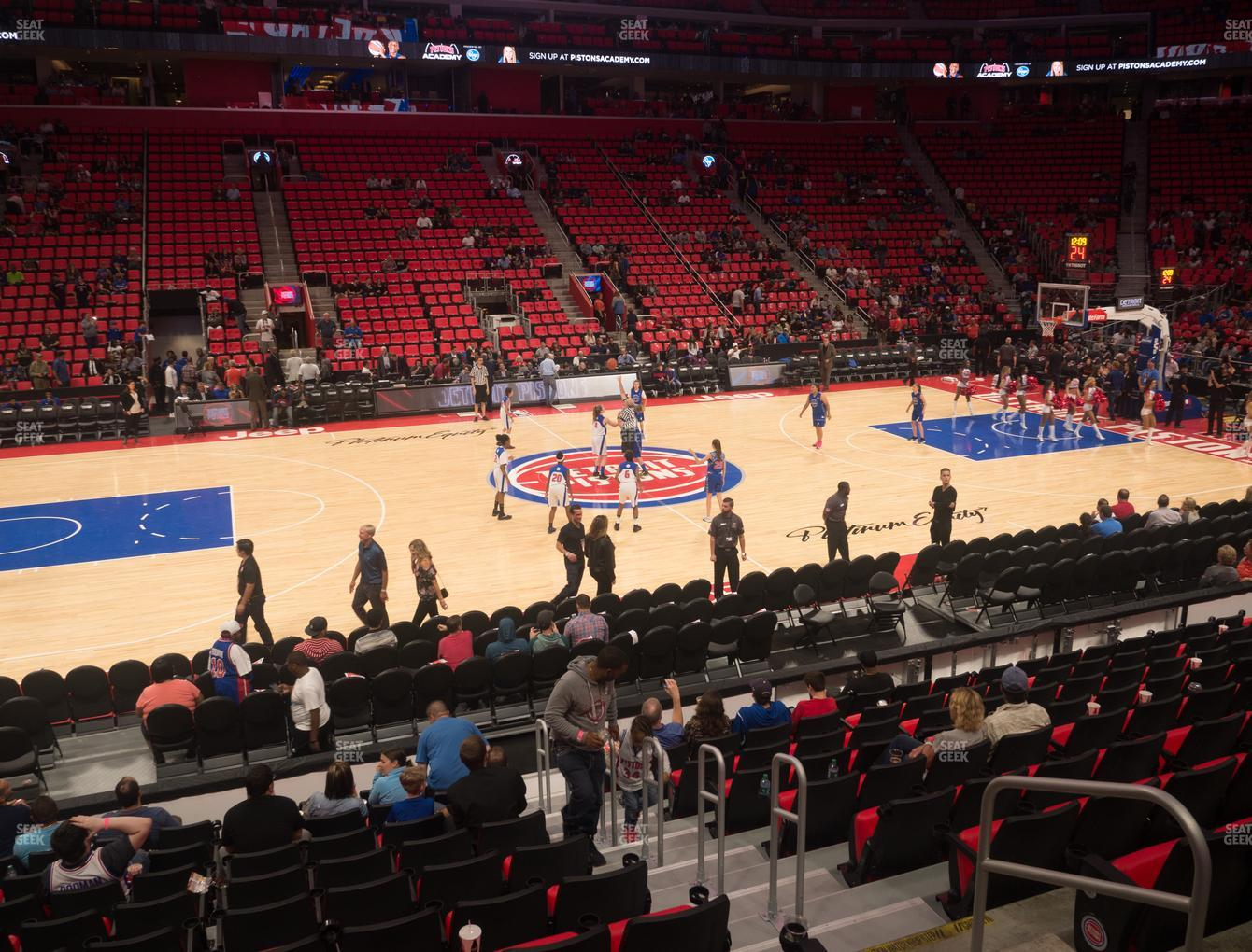 Detroit Pistons at Little Caesars Arena Section 110 View