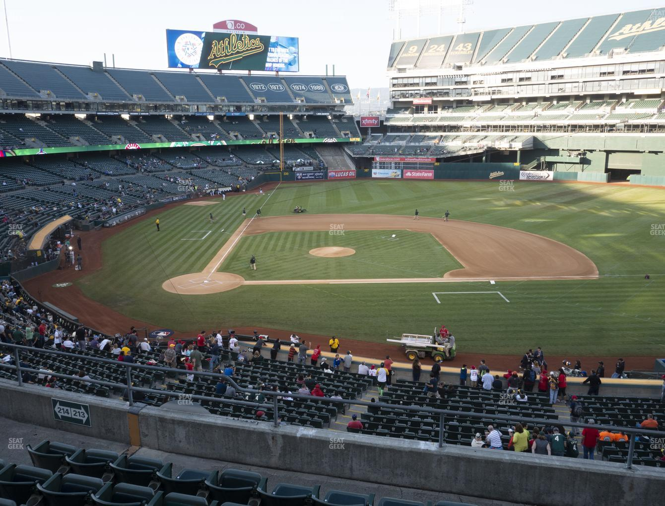 Oakland Athletics at Oakland-Alameda County Coliseum Section 213 View