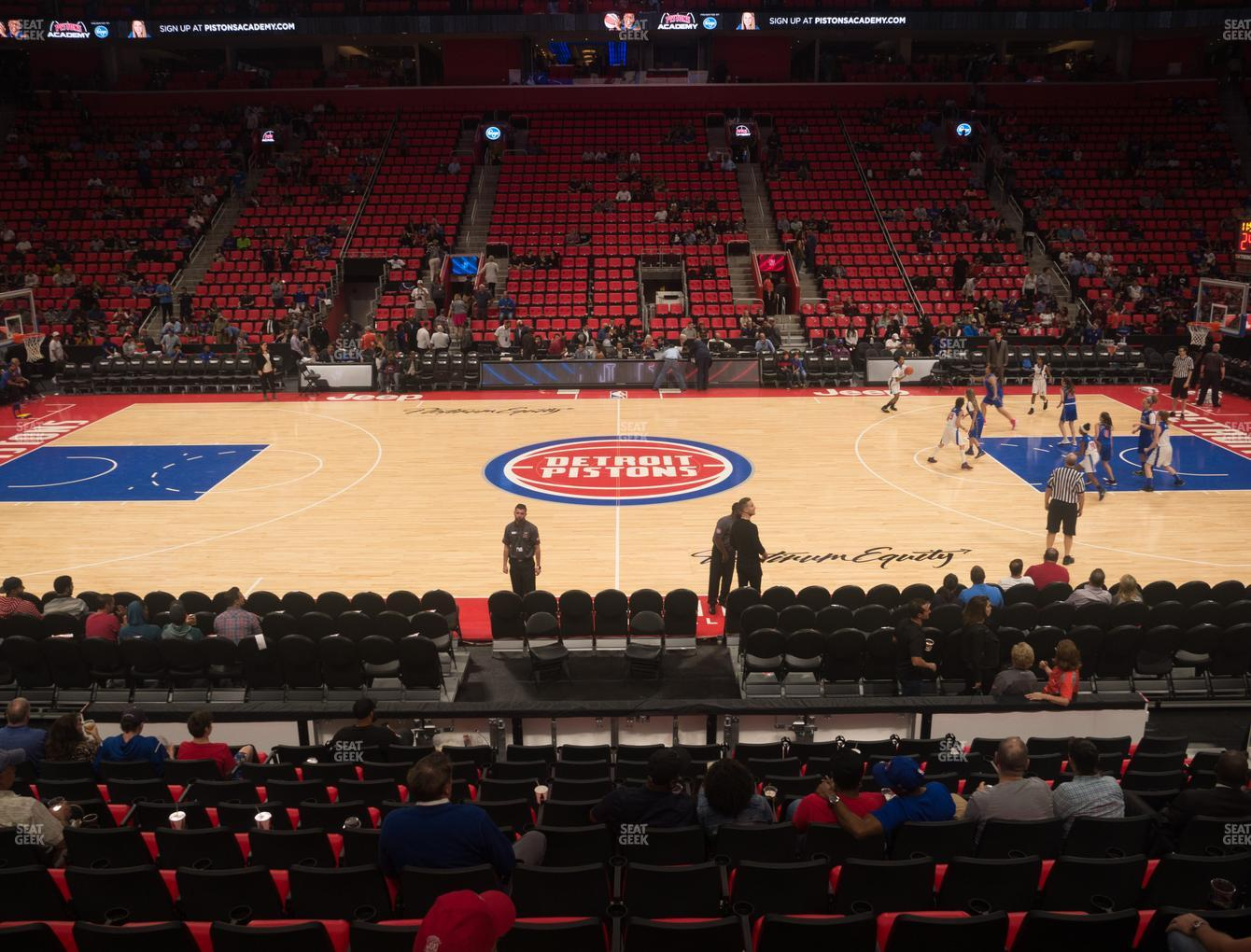Detroit Pistons at Little Caesars Arena Section 109 View