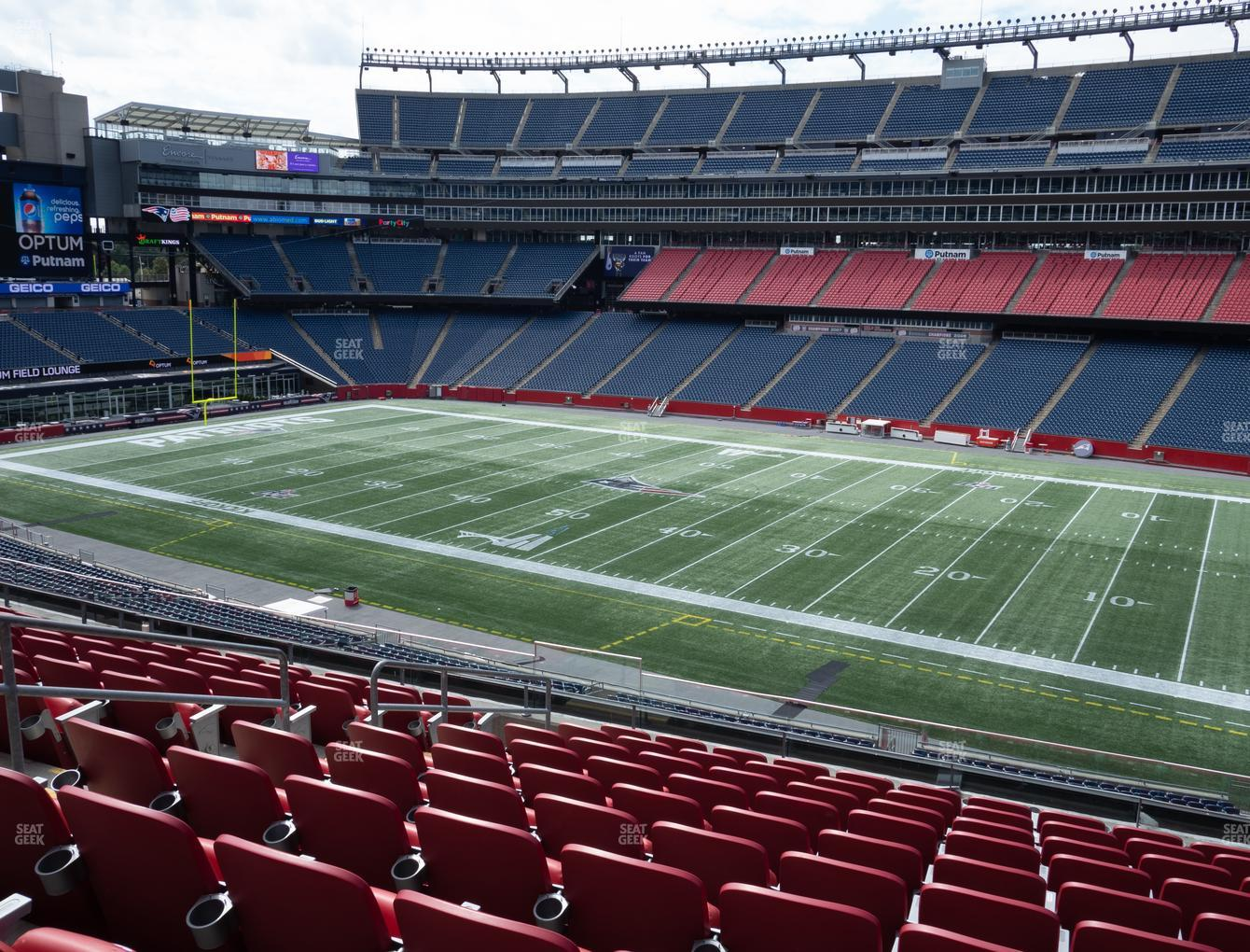 New England Patriots at Gillette Stadium Section Club 6 View