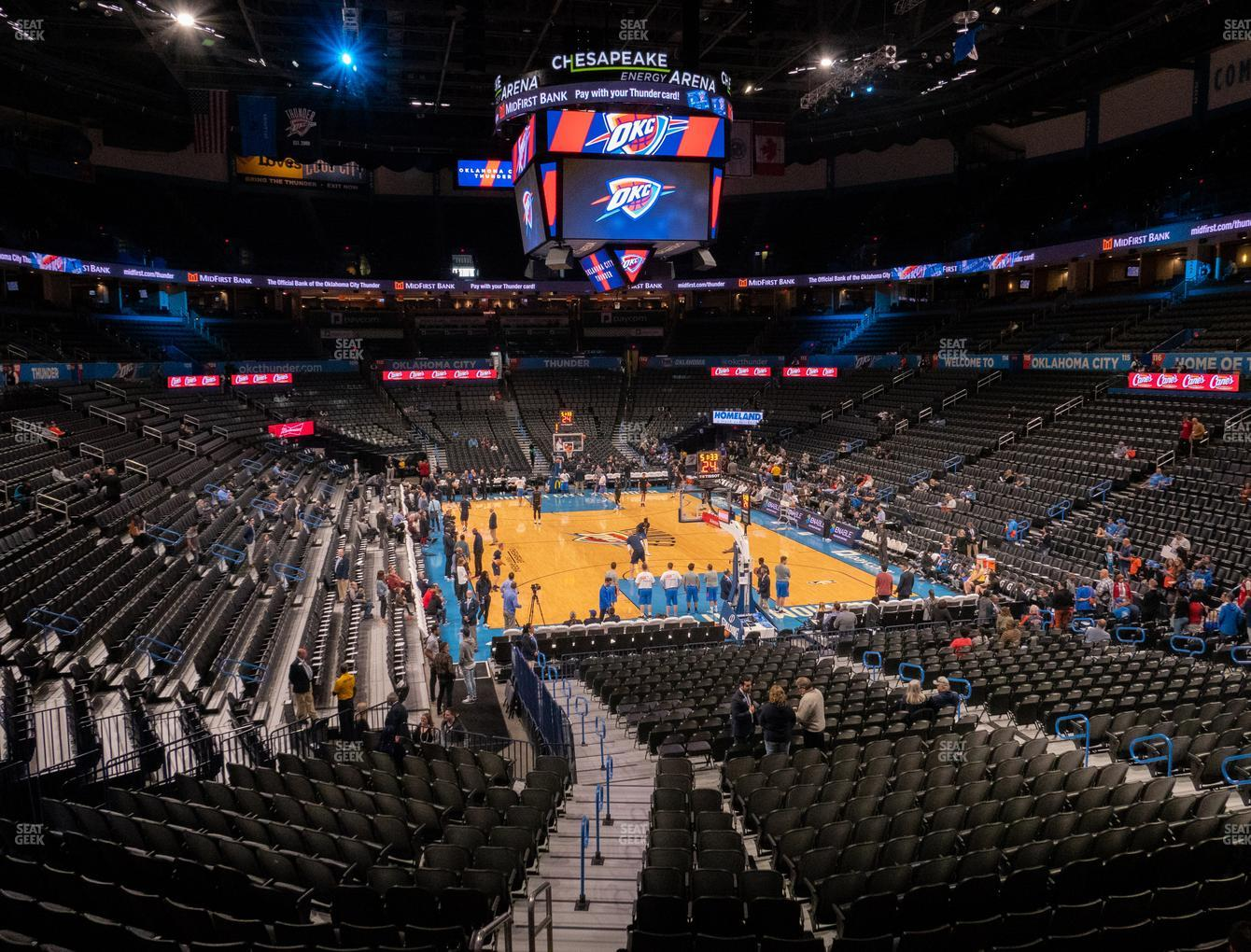 Oklahoma City Thunder at Chesapeake Energy Arena Lower Terrace 202 View
