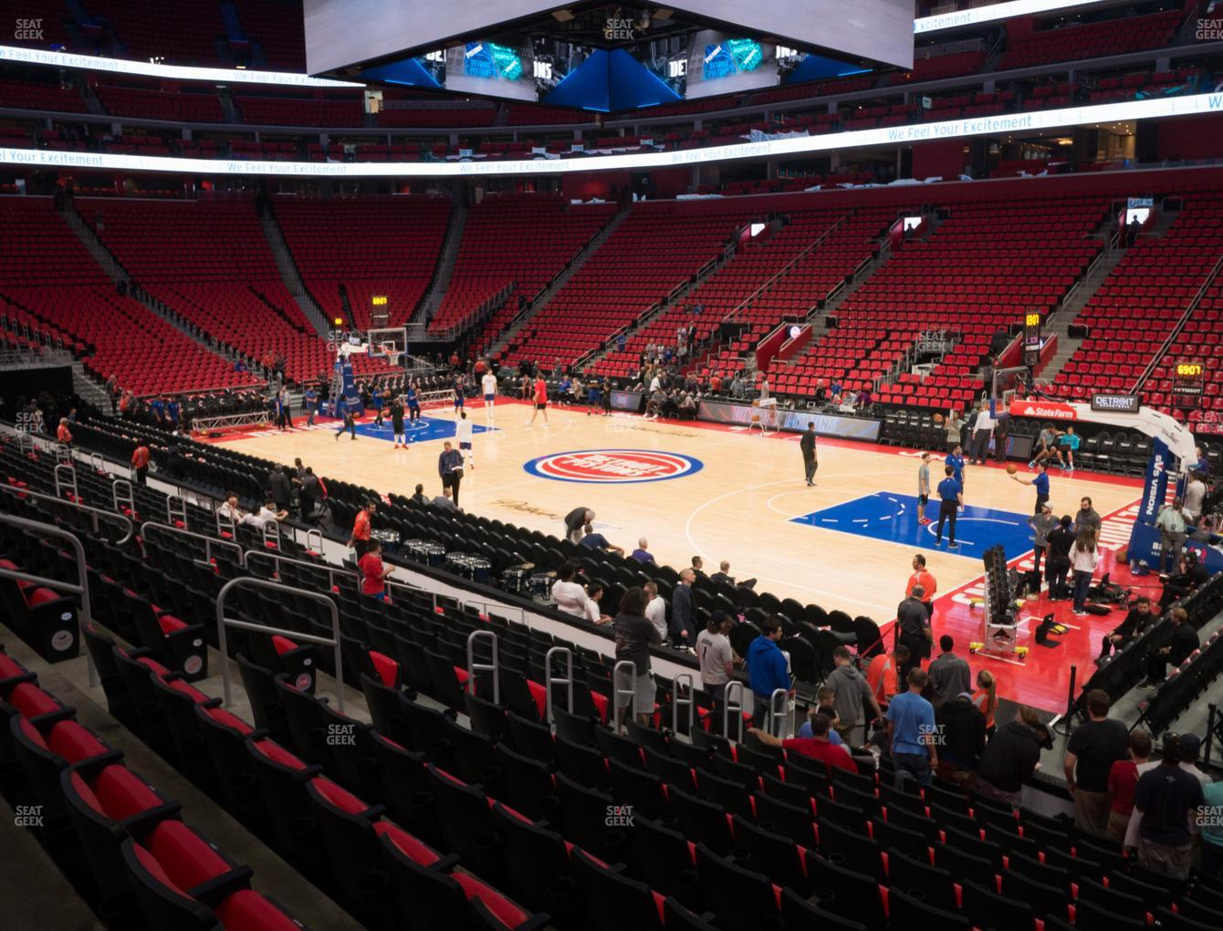 Detroit Pistons at Little Caesars Arena Section 106 H View