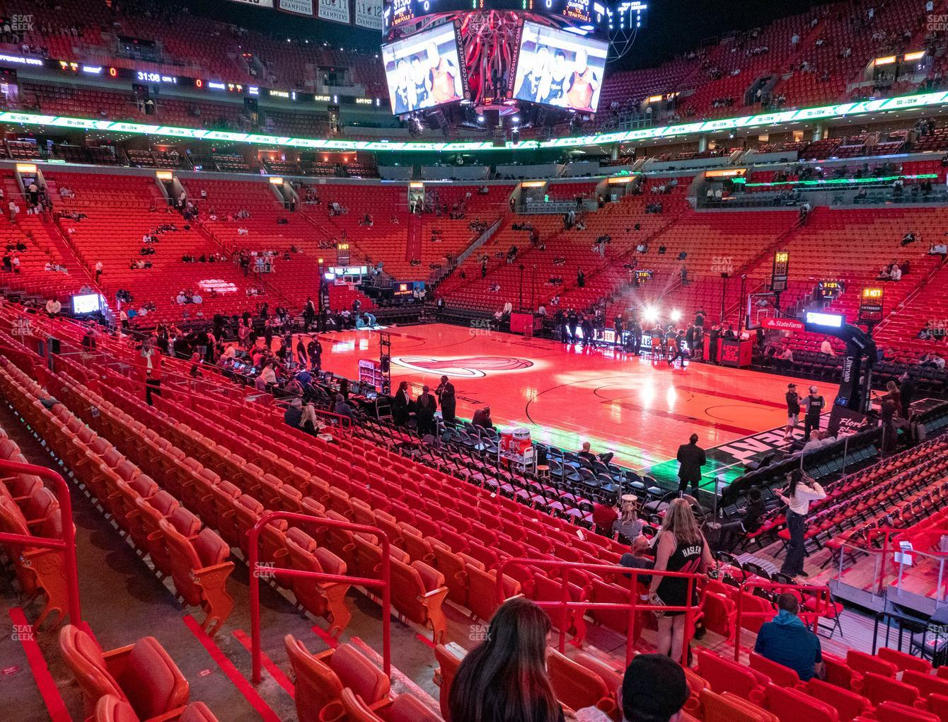 Miami Heat at American Airlines Arena Section 104 View
