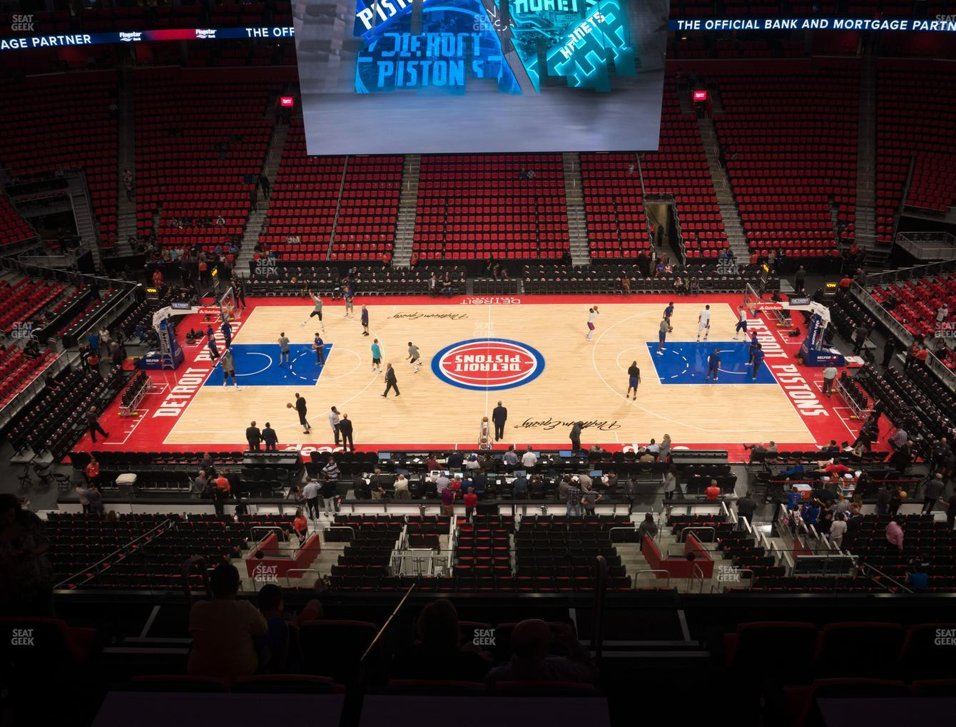 Detroit Pistons at Little Caesars Arena Drink Rail Mezzanine 28 View