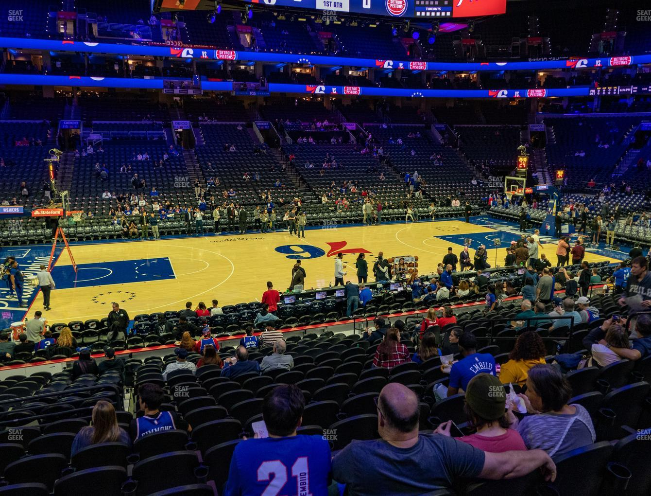 Philadelphia 76ers at Wells Fargo Center Section 124 View