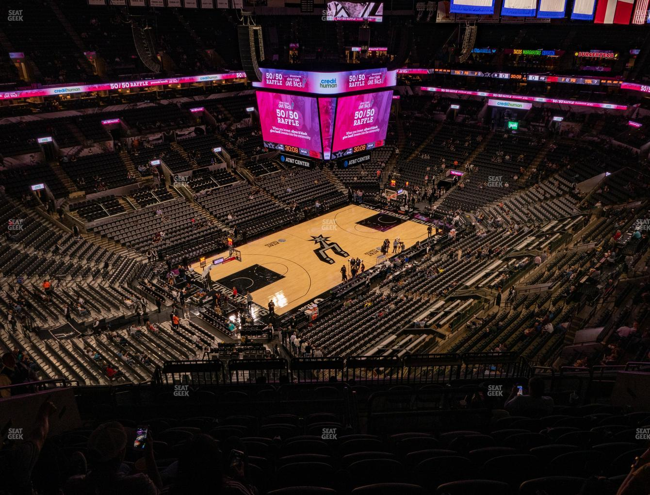 San Antonio Spurs at AT&T Center Section 212 View