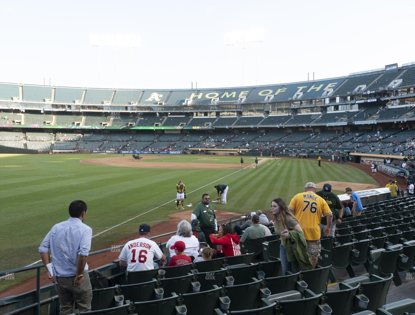 Oakland Athletics at RingCentral Coliseum Section 130 View