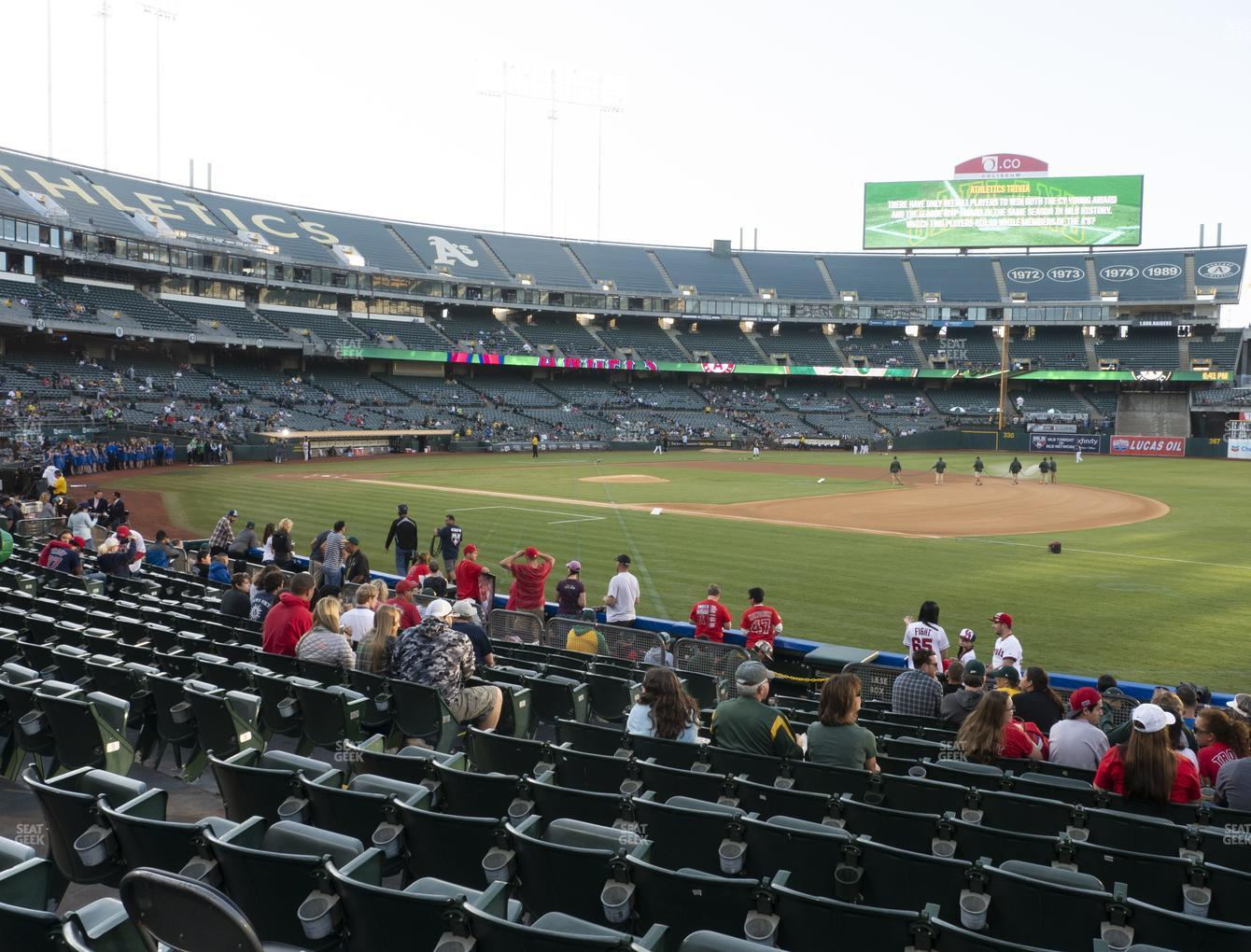 Oakland Athletics at RingCentral Coliseum Section 109 View
