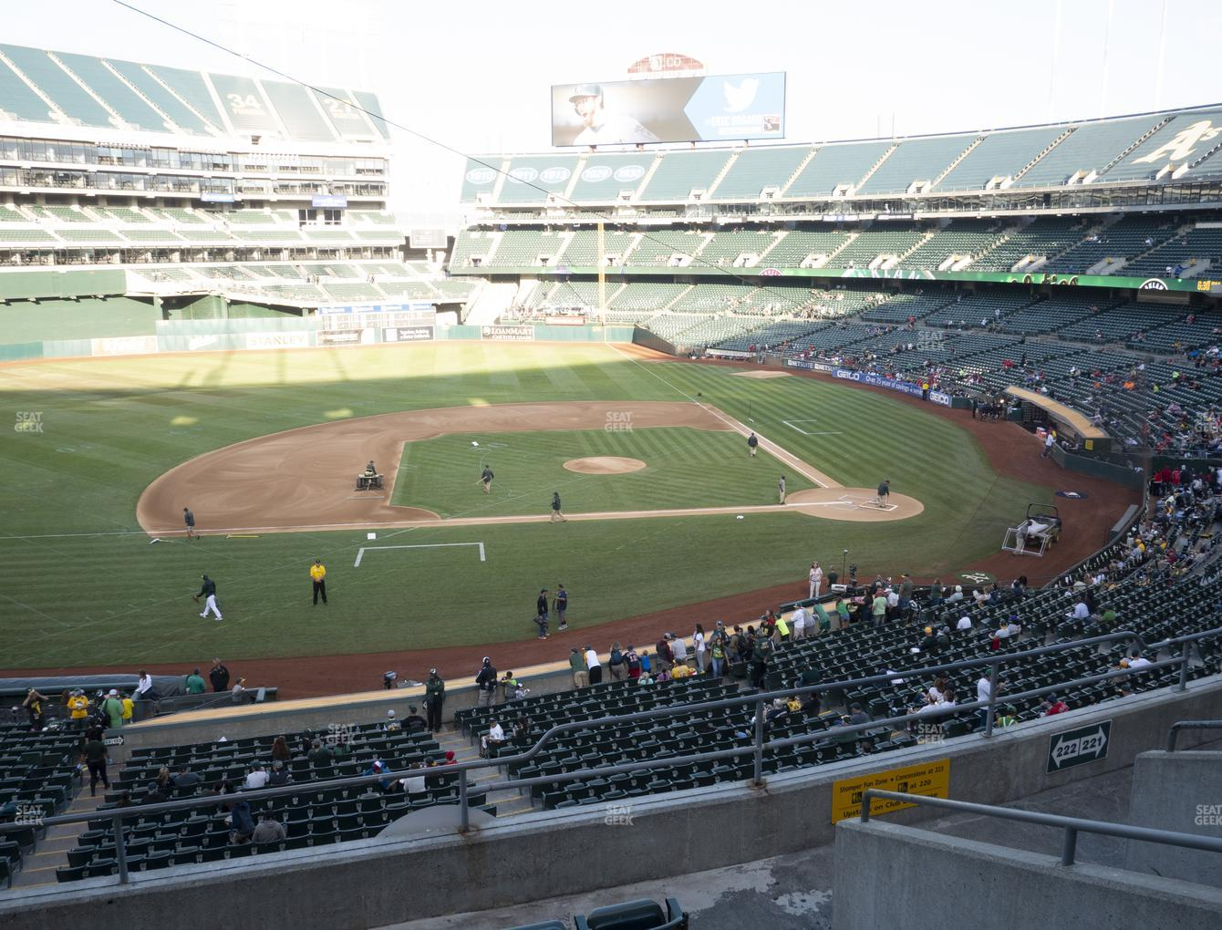 Oakland Athletics at RingCentral Coliseum Section 222 View